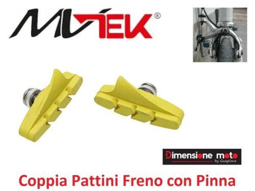 Coppia PATTINI FRENO MV-TEK Gialli con Pinna per Bici 26-28 Corsa Strada 0525
