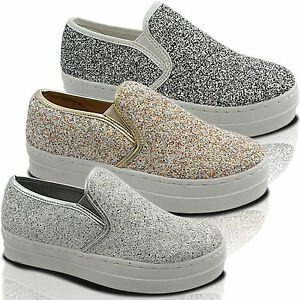 0ad9dfe9e87e NEW LADIES SPARKLY CHUNKY PLATFORM SLIP ON SKATER TRAINERS PUMP DECK ...