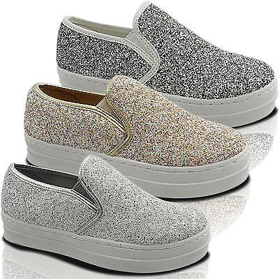 Nuevas señoras Brillante Grueso Plataforma Slip On Skater formadores Bomba de zapatos náuticos de tamaño