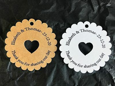 10 Kraft White Gift Tags Wedding Favour Bomboniere Personalised Thank you V6