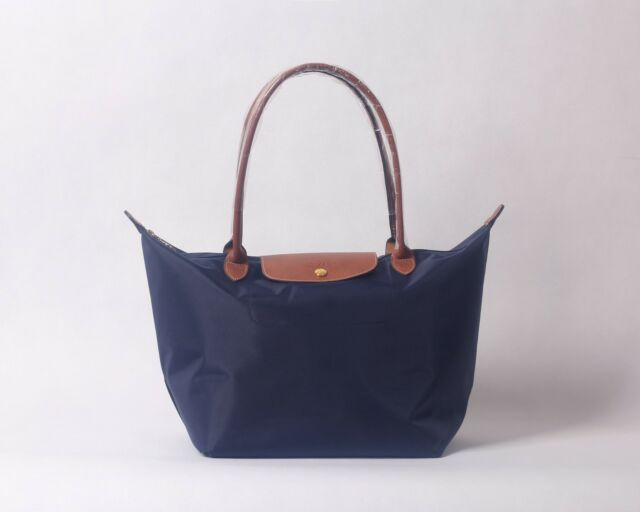 Longchamp Le Pliage Nylon Tote Handbag Navy Blue Large France
