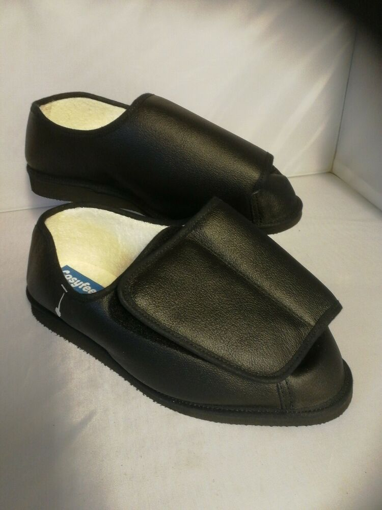 Homme Cosyfeet Taille 10 Extra Large Noir Chaussons Chaussures En Cuir Rowan