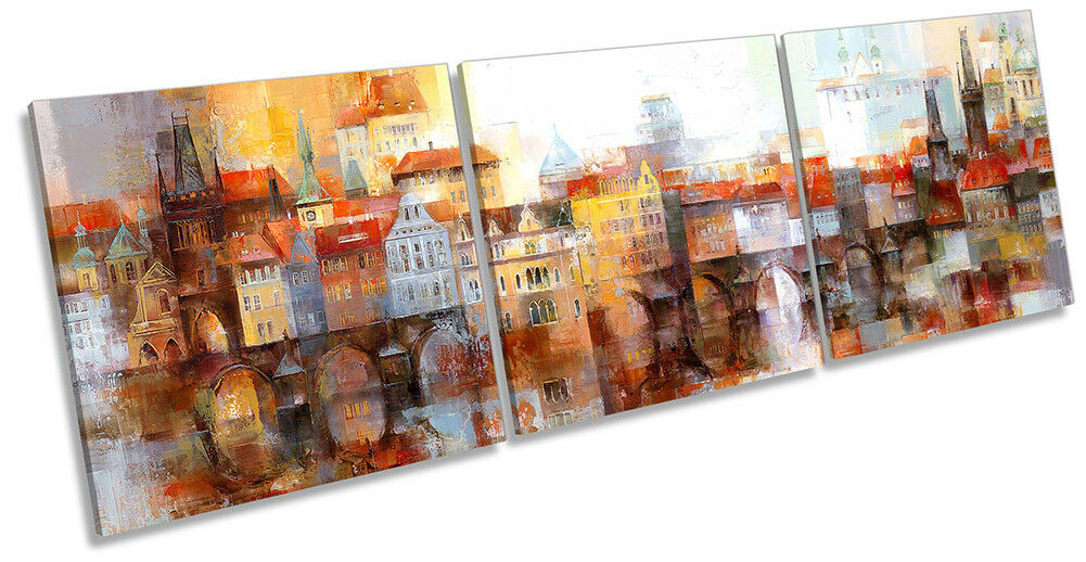 Abstract Skyline City Town Picture CANVAS WALL ART Triple Print