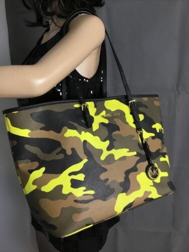 Michael Kors Jet Set Acid Yellow Camo Camouflage T