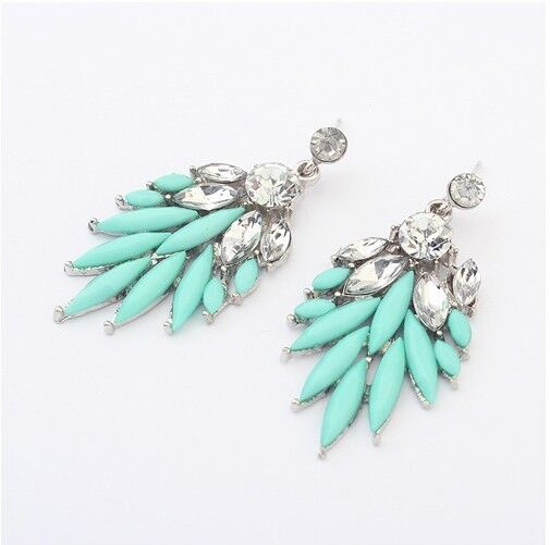New Fashion Jewelry Mint Color Resin Rhinestone Bohemian Style Earring Stud