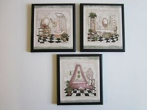 Bathroom Wall Decor Plaques Pictures French Cottage Bath Tubs Pink Green Ebay