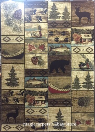 5X8 Area Rug Cabin Lodge Bear Paw Duck Deer Buck Canoe Forest Black Brown Beige