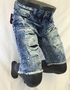 f8a07b5f Mens VICTORIOUS JEAN SHORTS ACID WASH RIP TORN Blue Denim 30 32 34 ...