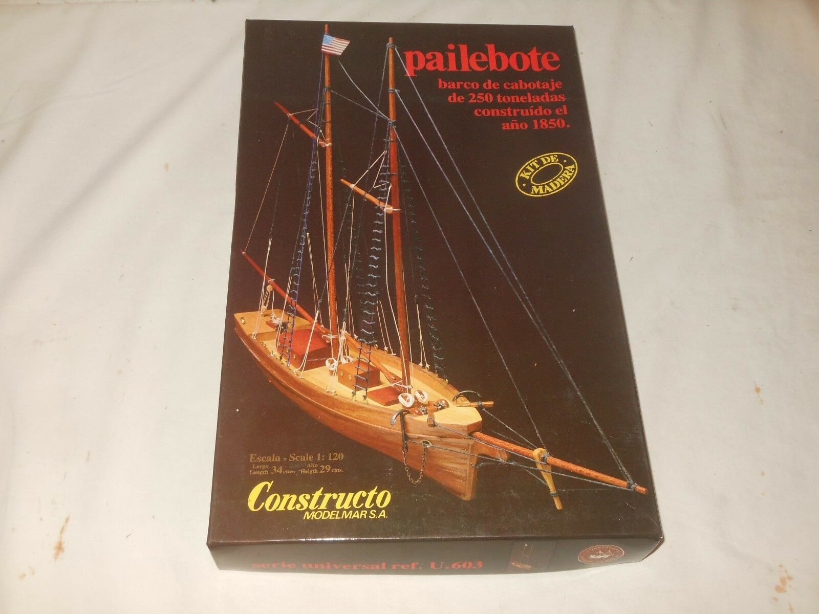 Vintage - Wood - Model Construction Kit - pailebote - modelmar SA OVP 1 120