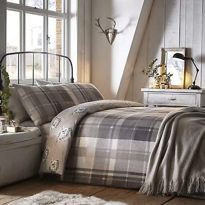 Dreams & Drapes Colville Check 100% Brushed Cotton Duvet/Quilt Cover Set Grey
