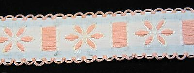 """Embroidered Insertion Trim Ribbon Beading cotton pink picot edge 3/4"""" 14 yds"""