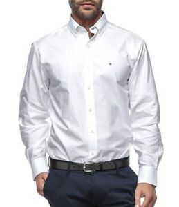 448989a50180 Tommy Hilfiger Men's 100% Cotton Solid Dress Shirt Slim Fit ...