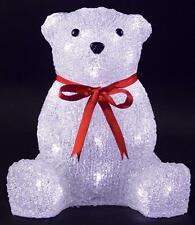 Indoor 26cm Led Acrylic Bear Xmas Decoration Christmas Display Light Up