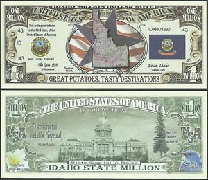 IDAHO STATE MILLION DOLLAR BILL w MAP, SEAL, FLAG, CAPITOL - Lot of 2 BILLS