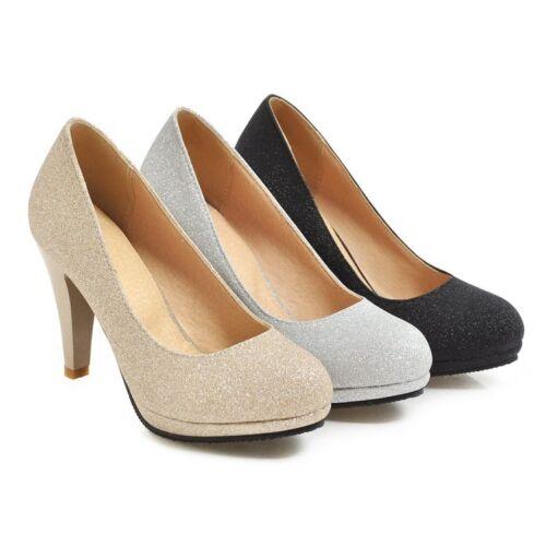 britanniche punte delle partito pompe paillettes rotonde delle delle di corte scarpe Misura tacco alto delle del donne di slittamento del qASppx