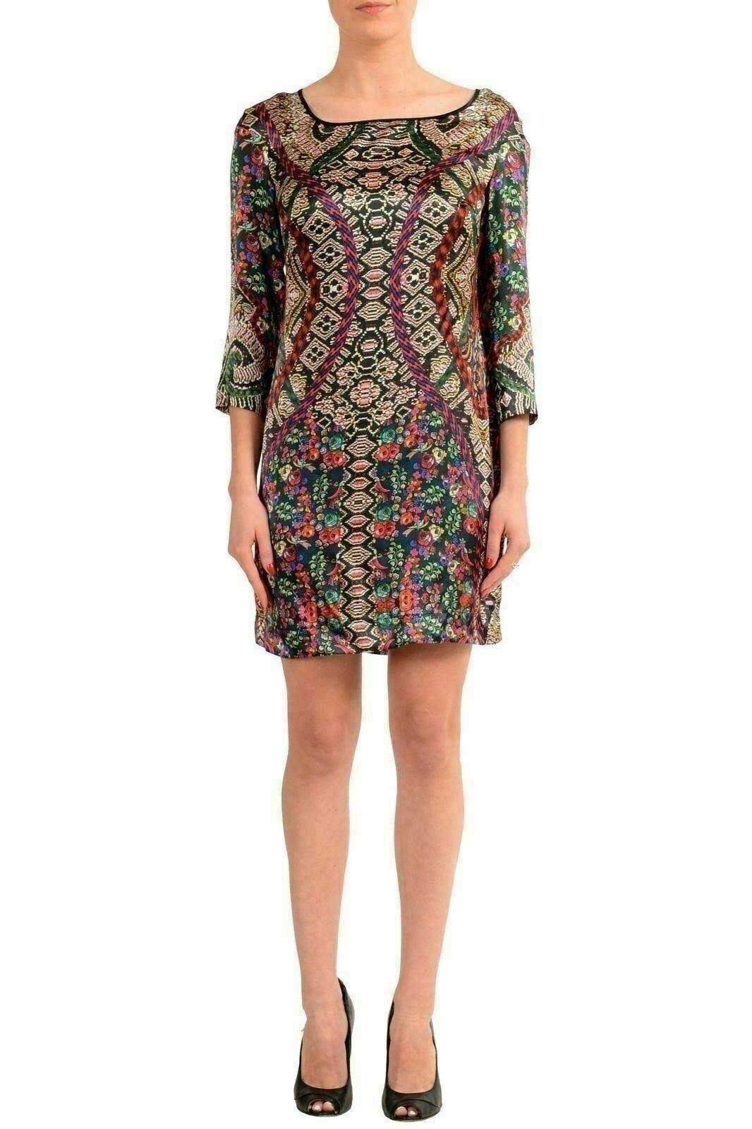 Just Cavalli Women'S 100% Silk Patterned 3 4 Sleeve Tunic Dress US S IT 40