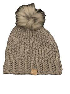 Twisty Loops Women's Hat Gray One Size Knit Stocking Cap Pom-Pom Beanie Knit