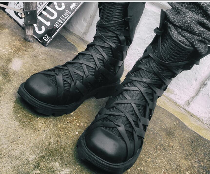 Zapatos De Cuero para Hombre Mitad de Pantorrilla botas Con Cordones Combate Militares Casual Moda Casual