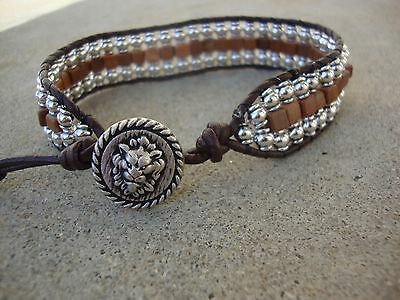 Men's Silver Tiger Jasper Beaded Wrap Bracelet Brown Leather Bracelet with Lion