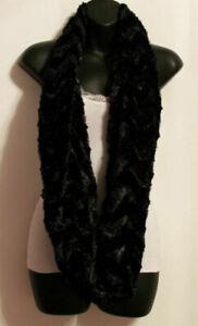 Women-039-s-infinity-2-circle-scarf-shawl-Wrap-Faux-Fur-long-Black-red-Cream