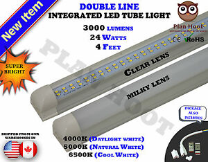 4-FT-Integrated-24WT-T8-CLEAR-MILKY-LENS-Double-Line-LED-4000K-5000K-6500K-Light