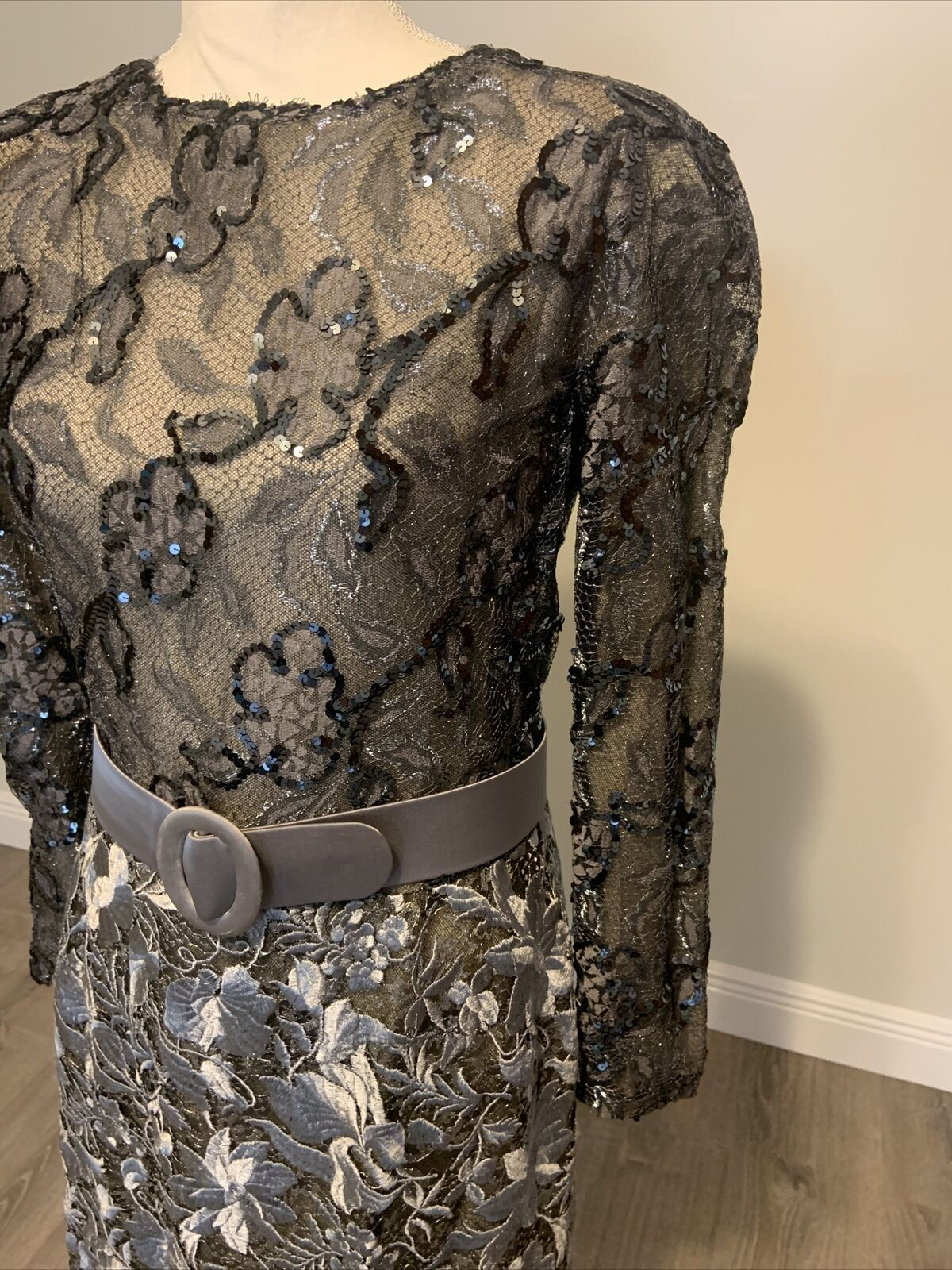 Arnold Scaasi Vintage Couture Silver Lace Dress w… - image 8