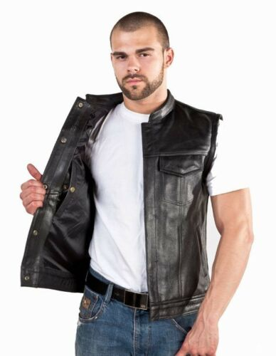 Concealed Carry Leather Outlaw MC Club /& Biker Vest free shipping
