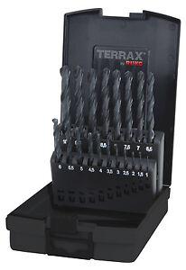 Ruko Terrax da 19pcs. Twist Drill Bit Set HSS-R, 1-10.0mm in incrementi di 0.5 mm