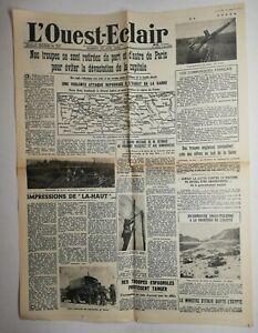 N571-La-Une-Du-Journal-L-039-ouest-eclair-15-juin-1940-troupes-Paris-devastation