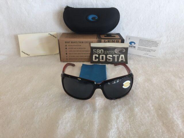 17878e02731 NEW Costa Del Mar Isabela Polarized Sunglasses Black Coral Gray 580P IB 32  OGP