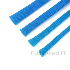 Blue-Braided-Sleeving-Cable-Harness-Sheathing-Expanding-Sleeve-Many-sizes