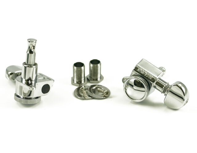 Genuine Grover 505C6 Mini Roto-Grip Locking Rotomatic 6 Inline tuners, Chrome