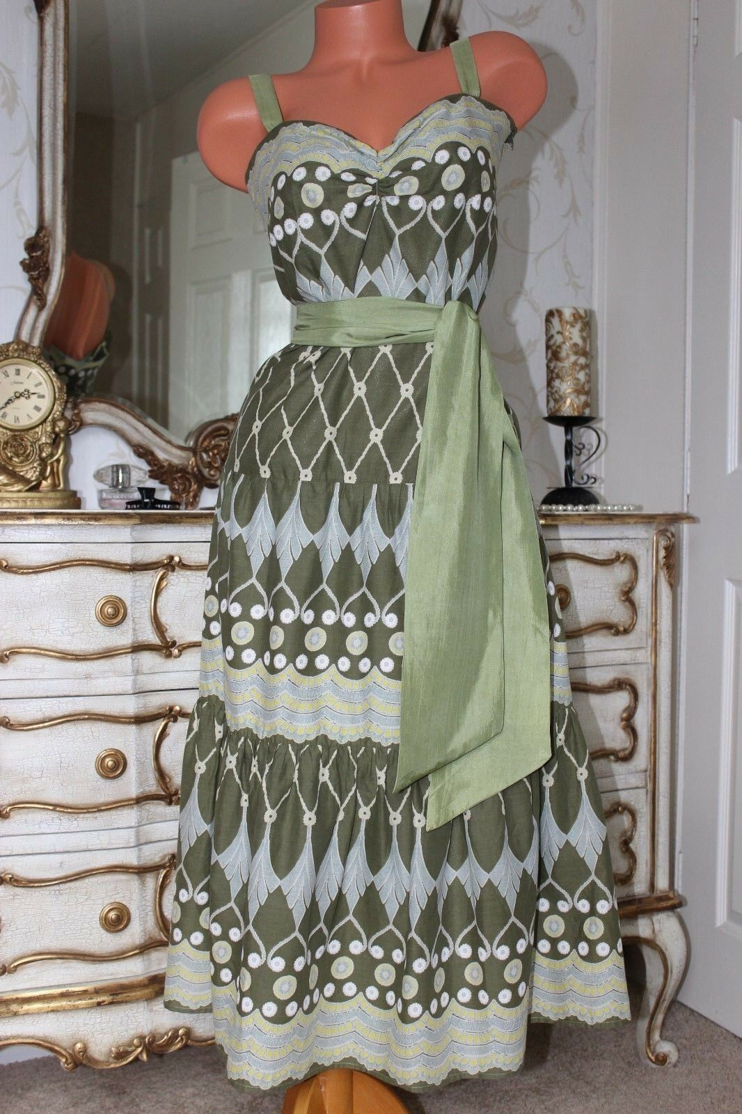NANCY  MAC 100% Soft Cotton 100% Silk Trim Ladies Floral Summer Dress size 2