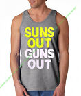Neon SUNS OUT GUNS OUT Gray Tank Top Funny rave muscle gym workout bodybuilding