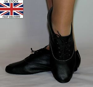 Jazz-Modern-Dance-Leather-Shoes-Full-Suede-Rubber-Sole-New-Children-Adult-Black