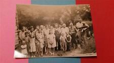 "RARE VINTAGE BLACK & WHITE PHOTO 1940's ""LARGE MISSOURI FAMILY REUNION LOG CABIN"