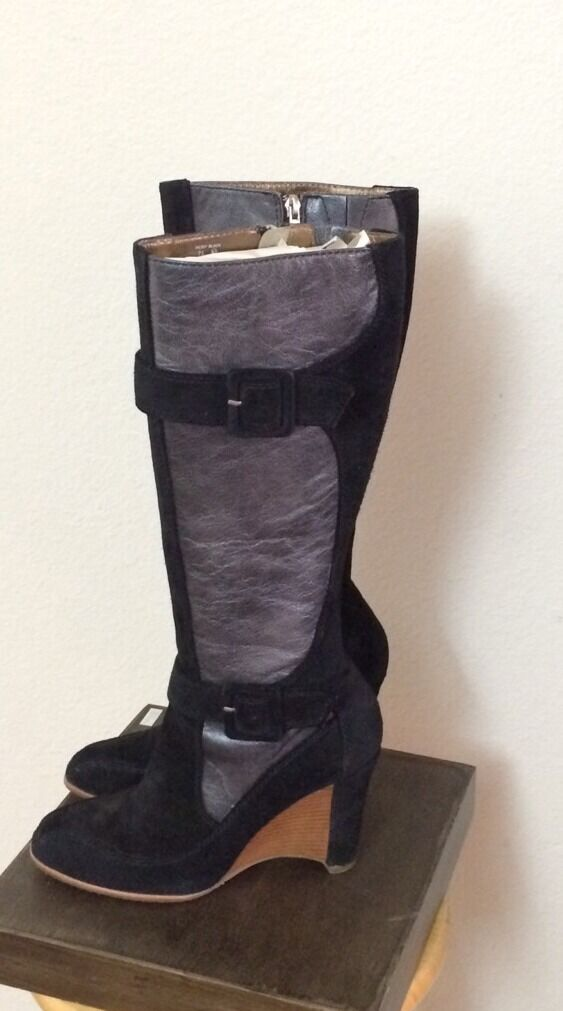 DONALD PLINER HEIDY EXPRESSO BLACK LEATHER & SUEDE WEDGE HEELED BOOTS SIZE 7.5