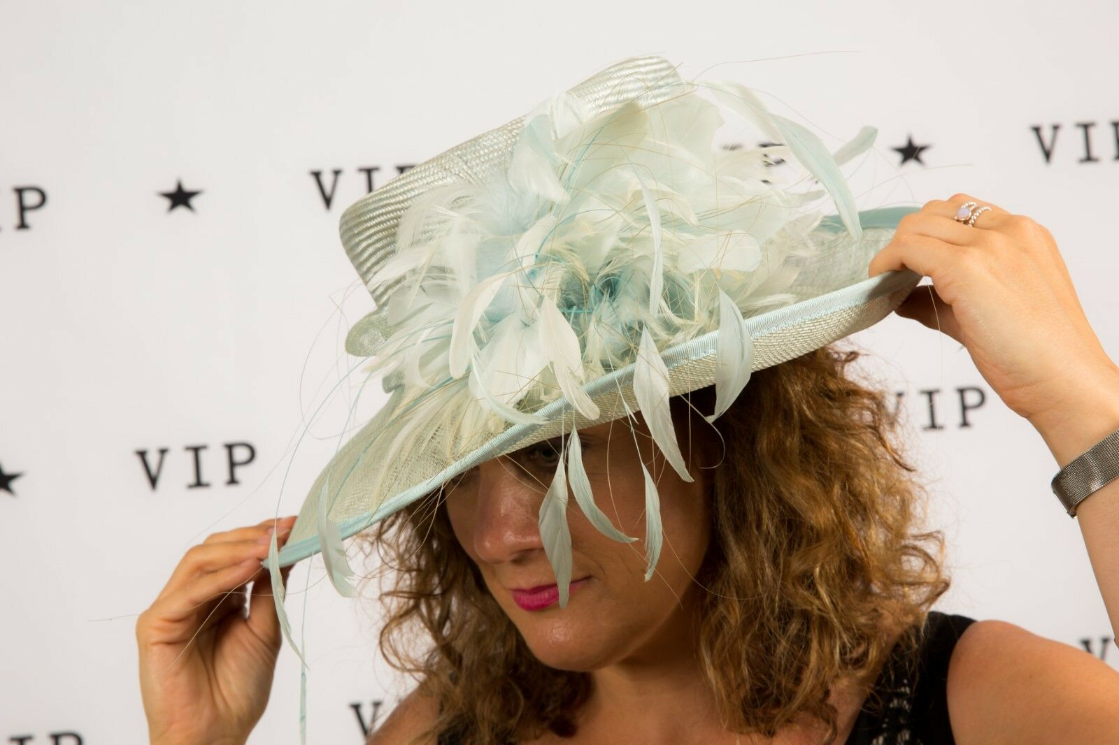 Pale blue feathered formal hat by Gwyther Snoxells Wedding Races Christening