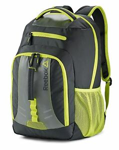 Image is loading NWT-Reebok-DELTA-Firebreather-Backpack-Grey-Yellow-59355-