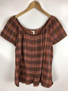 ESPRIT-T-Shirt-Blusenshirt-mehrfarbig-kariert-Groesse-40-100-Baumwolle