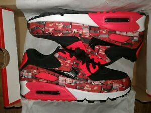 Details about Nike Air Max 90 Print BlackBright Crimson White AQ0926 001 Men's Size 5