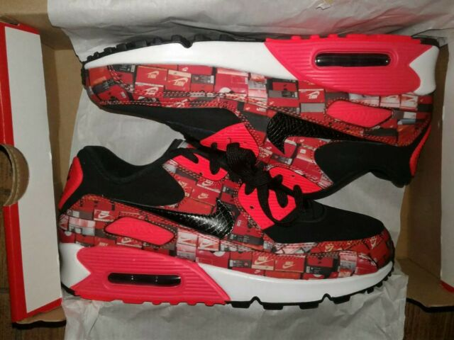 wholesale dealer 1a9a4 3d34c Nike Air Max 90 Print We Love Nike Aq0926-001 Black Crimson Size 5