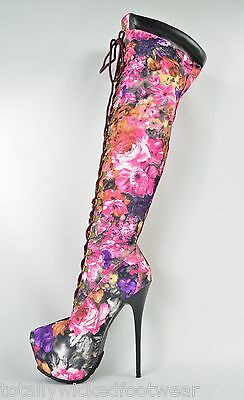 """Pink Floral Lace Up Thigh High Boot 6"""" Heel With Platform Sizes 6-11"""