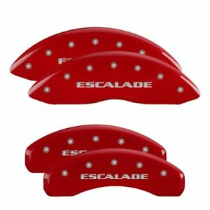 Set of 4 MGP Caliper Covers 35014SCADRD Caliper Cover with Red Powder Coat Finish,