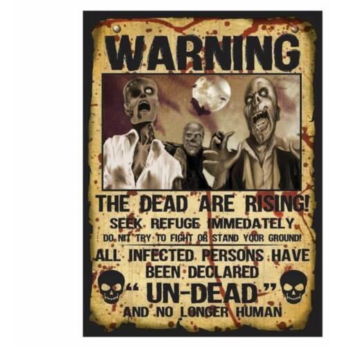 2 x Walking Dead Zombie Warning Poster décoration Halloween Prop
