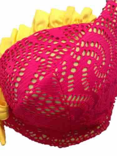 Pink /& Yellow Underwired Bikini Top Supportive Larger Cup Swimwear Ladies