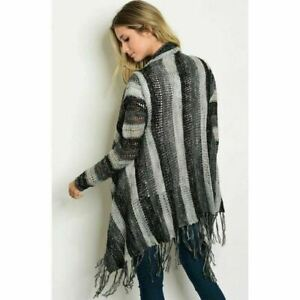 Open Front Knit Cardigan Sweater With Fringe Charcoal Gray Mix