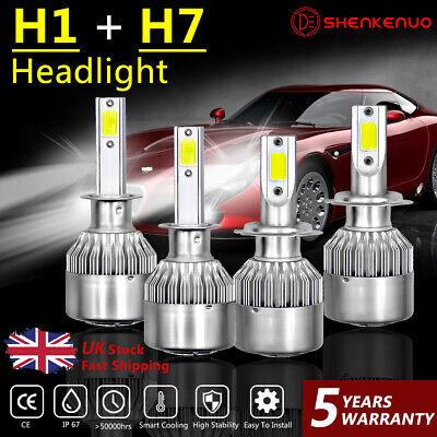 For Vauxhall Corsa D 2006-2014 Low High Beam H7 H1 LED Headlight Bulbs Set Lamp