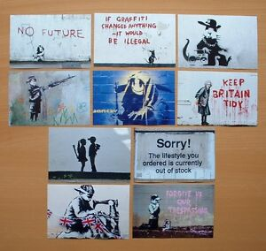 BANKSY-SET-OF-TEN-POSTCARD-SIZE-PHOTO-PRINTS-NOT-CANVAS-FREE-POSTAGE