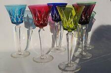 St Louis Ardèche - 6 grands Verres Vin / Roemer / Römer Cristal Couleur taillé